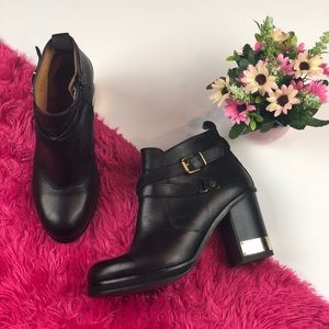 Topshop Black Leather Booties Gold Detail